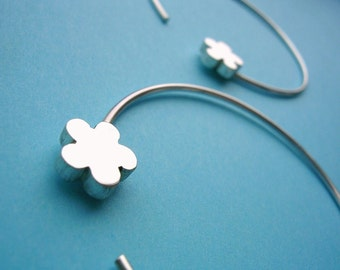 Sterling Silver Hoop Earrings with Blossom Motif