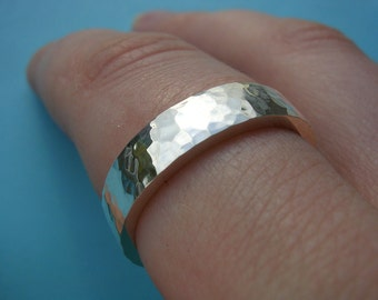 Heavyweight Sterling Silver Ring with Hammered Finish - Hallmarked