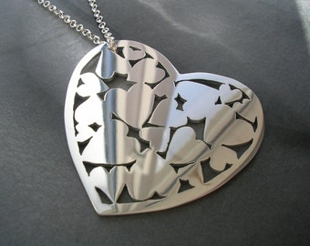 Sterling Silver Pendant - Heart Full of Hearts Silver Necklace