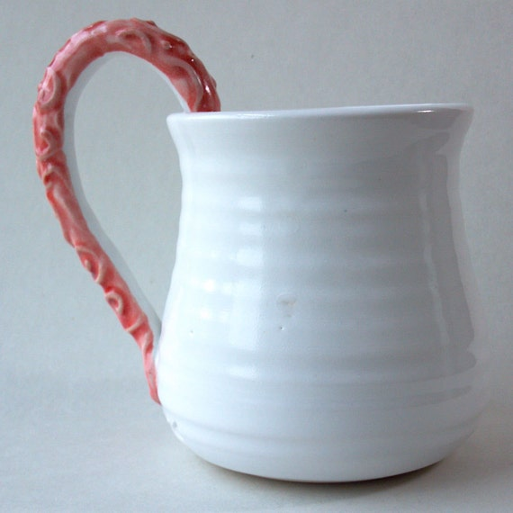 Big Coffee Mug with aCoral Pink SwirlyTextured Handle READY TO SHIP