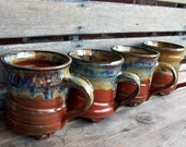Set of Four Red and Cream Footed Mugs (Made to Order)