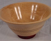 Curly Maple and Bloodwood Hand Turned Wood Bowl Art 4180