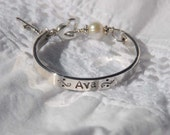 48 hour turn around with usps express shipping Hand stamped baby bangle for christening, baptism or confirmation....Sweet Blessing
