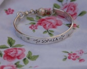 Hand stamped childs bangle cuff bracelet for little girls, baby toddler .... sterling, handmade just for your little one..