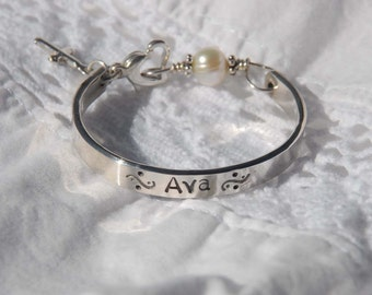 Hand stamped baby child bracelet bangle  cuff  for christening, baptism or confirmation....Sweet Blessing