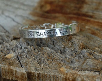 Hand stamped Child  bangle - cuff - bracelet ....Zharia's butterflies all sterling, handmade just for your little one..