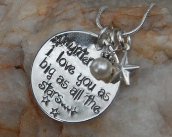 I love you as big as all the stars hand stamped pendant