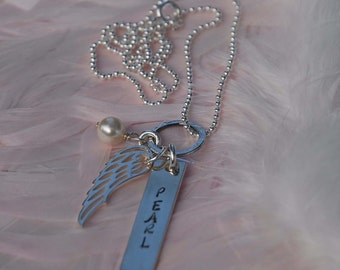 Hand stamped custom pendant....born with angel wings