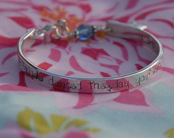 sterling Hand stamped bangle cuff bracelet for baby, child or adult