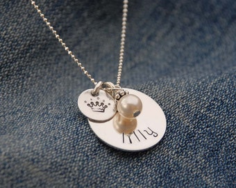 Sweet Princess - sterling necklace ideal for birthdays or bridesmaid flower girl gift