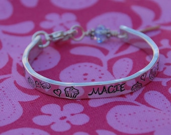 Scrumptious  Birthday sterling bangle bracelet cuff customized for that sweet little one or any cupcake lover