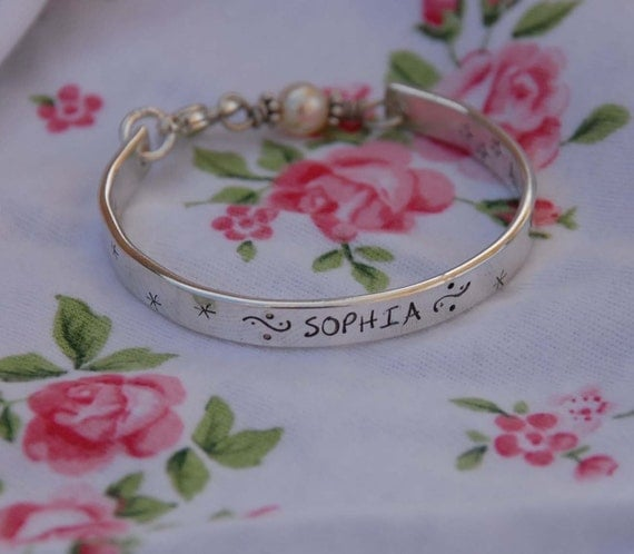 reserved for shannon handstamped sterling bangle cuff bracelet with birthstone...  customize your way...