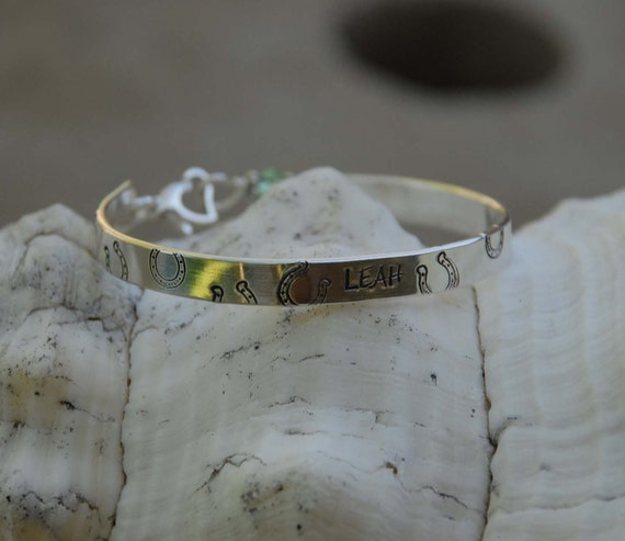 Lucky horseshoe - handstamped sterling bangle bracelet cuff, hand formed & personalized for the horselover you love