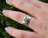 Going Out of Business Sale Half Off was 50.00 Waves - Sterling Silver Wide Band Ring - 87  Size 8.5