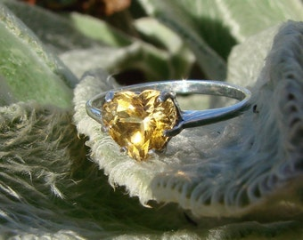 70% OFF Going Out of Business Sale..Genuine Citrine Heart Ring - Sterling Silver Size 9.5
