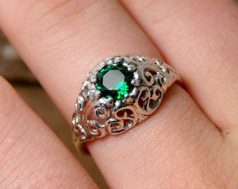 Envy - Sterling Silver Ring with Emerald - (264)
