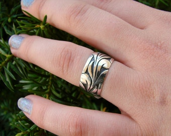 Waves - Sterling Silver Wide Band Ring - 87