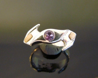 70% OFF Going Out of Business Sale.. ..Motion - Sterling Silver Ring with Amethyst and Prehistoric Mammoth Ivory- size