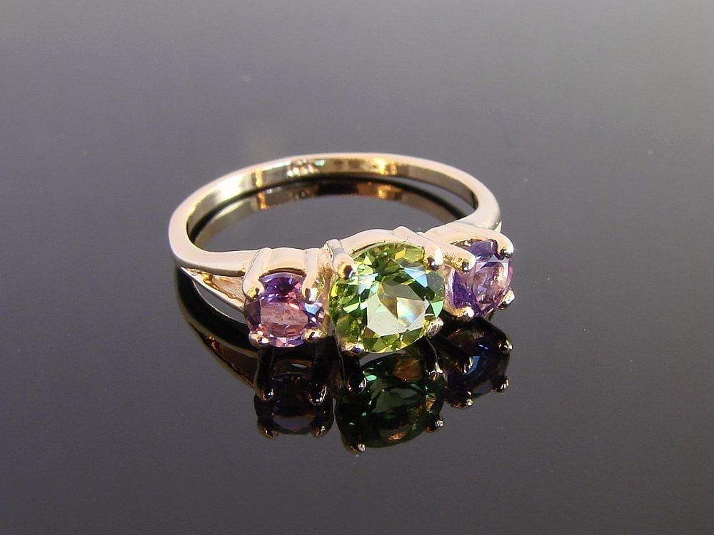 Three Stone Ring 10k Solid Gold with Peridot by Firefallstudios