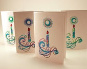 birthday candle cards- pack of 4- blank inside- handstamped and colored