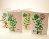 60's style flowers - blank greeting card- hello