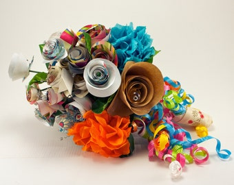 Custom Rehearsal Bouquet - Made to Order- Recycled Shower Papers and Trim- Rehearsal Bouquet or Toss Bouquet