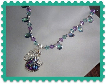Mystic Topaz gemstone Necklace in silver and with earrings
