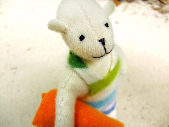 Beach Pogo - eco friendly bear w/ wool swim trunks and towel