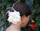Carry Me Over That Threshold - Feathered Flower Hair Barrette