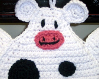 Holstein Cow Pot Holder Crocheted Black and White Cow Pot holder Hot pad Cow Trivet