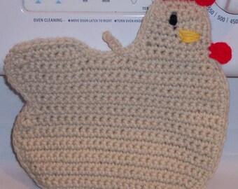 Hen Chicken Pot holder Hot pad cream crochet