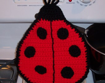 Lady bug Pot holder Hot pad trivet Crochet