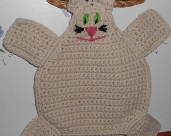 Cat Pot Holder Hot pad in Cream Crochet