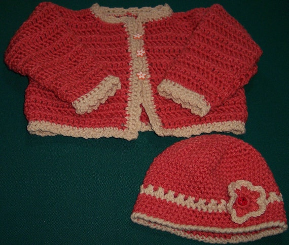 Baby Girl Sweater Cardigan Set Crocheted in Coral Size 6 to 9 months