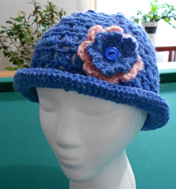 Roll Brimmed Crochet Hat  for Youth Toddler or Woman in Blue and Pink