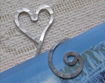 Heart Bookmark - aluminum - personalized - etched - spiral - swirl - book marker - unique - love - lightweight -