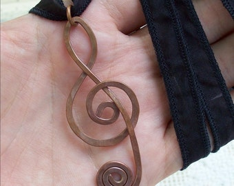 Large Treble Clef Pendant made of copper, music note necklace, perfect gift for musician, music lover or music teacher, under 20 dollars