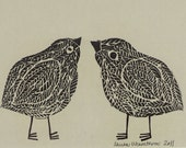 Bird Friends Original linoleum block print on tan or gray paper, 5 x 7