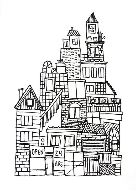 original ink drawing on paper black and white, urban city skyline no. 3, SALE