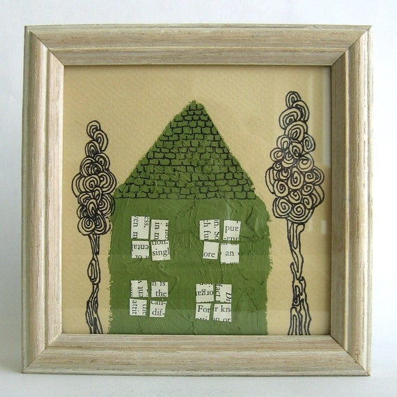 SALE-- Green House with 2 Trees Original Mixed Media House