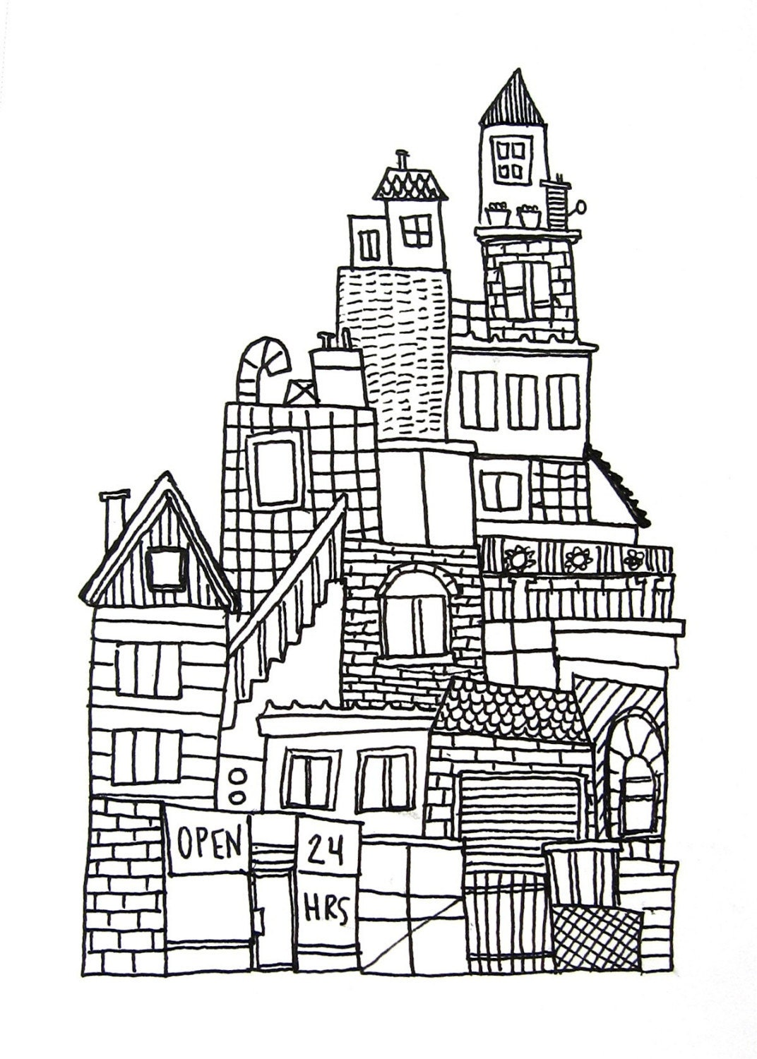 Line Art City : Original ink drawing on paper black and white urban city