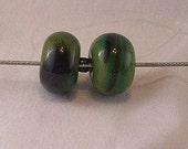 Set of two Olive Green Lampwork beads