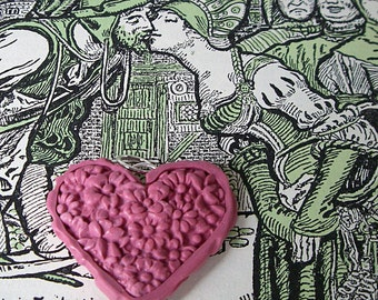 Heart Pendant or Focal Bead Pink Floral