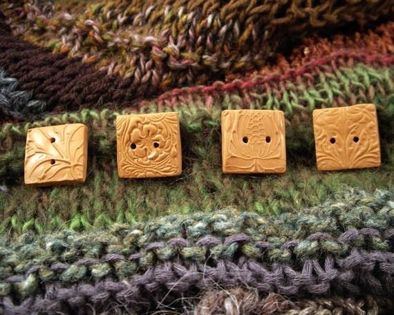 Handmade Art Nouveau Buttons Set of 4 Square Terra Cotta Color OOAK
