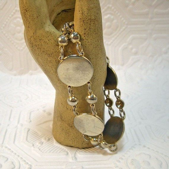 Brass Discs and Beads Heavy Link Bracelet