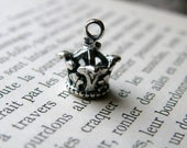 Solid sterling silver crown 3-D charm, No. 003