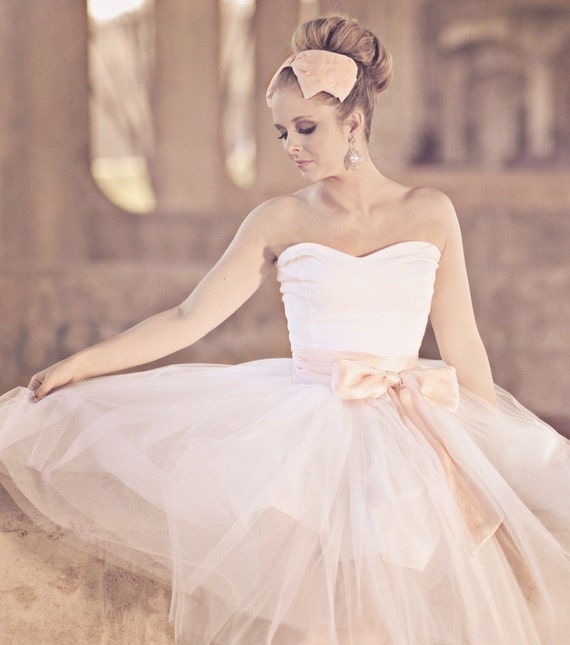 Pink Hand Dyed Sweetheart Strapless Tea Length Cotton and Tulle Party Dress - Sweet Dreams by Cleo and Clementine