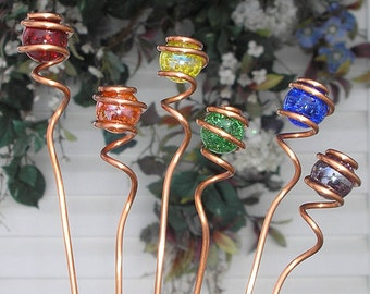 Rainbow Garden Markers - Copper Glass Plant Stake Set - Yard Lawn Pond Outdoor Art