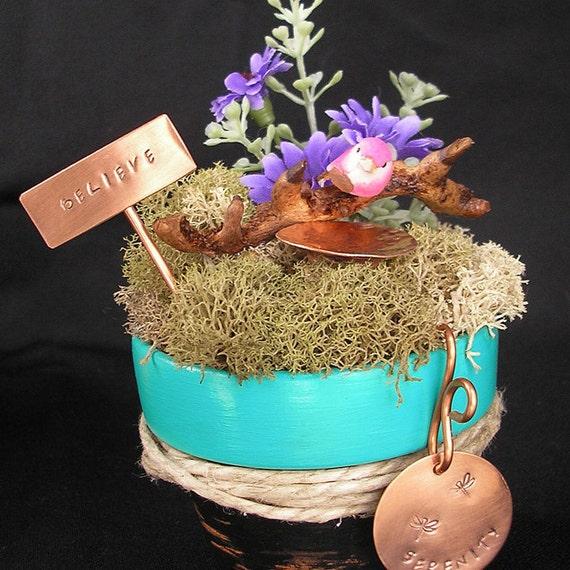 Serenity - Miniature Fairy Garden - Mini Copper Birdbath and Garden Stake - Hand Stamped Metal