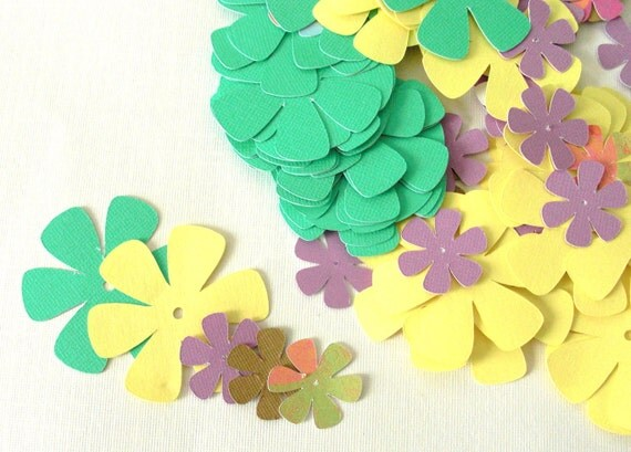 Mixed Die Cut Paper Flowers 2 inches and 1 inches for flowers,cards,tags,confetti. more more ideas...